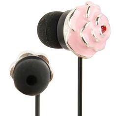 Schattige in-ear oordopjes in de vorm van een roze roos Headphones, Plating, Diamond, Metal, Pink, Cable, Type, Products, Cabo