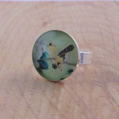 Bird Ring  Yellow Bird on Tree Resin Ring  by 78HappinessPlace, £6.00