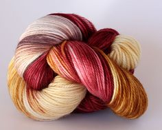 Hand Dyed Yarn - Superfine Superwash Merino - DK - Wine & Crackers - Burgundy Biscuit Grey by ClementineAndThread on Etsy