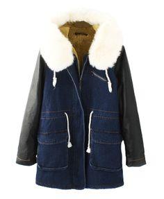 Fur Collar Leather Splicing Sleeves Denim Coat
