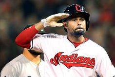 Cleveland Indians CoCo Crisp gives the salute sign to the Indians bench after knocking in 2 runs in the 6th inning at Progressive Field in Cleveland, Ohio on September 23, 2016.  This was part of the 4 run 6th inning the Indians put up against the White Sox.  Crisp had 4 rbi's on the night.  The score at the end of the 6th inning had the Indians leading 10-4.  (Chuck Crow/The Plain Dealer)