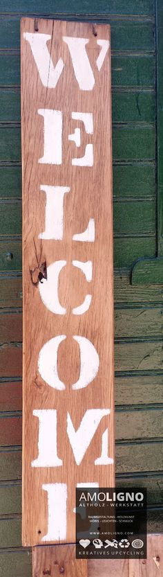 Altholz Schild WELCOME EICHE Shabby Landhaus Upcycling