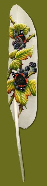 Butterflies and Blackberries. Feather Art by Ian Davie Feather Painting, Feather Art, Bird Feathers, Painting On Wood, Painted Feathers, Pictures On String, Felt Pictures, Beautiful Artwork, Cool Artwork