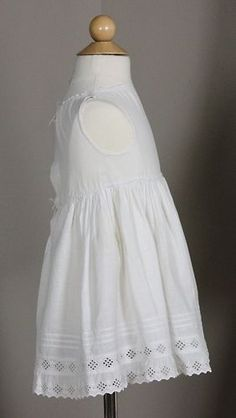 Lovely Antique White Cotton Child's Dress with Eyelet and Tucks | www.SarahElizabethGallery.com