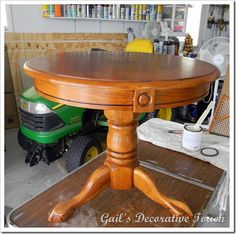 WOW I can't believe how fast you can work with this chalk paint. I was amazed that I could transform this table from this…    to this in a m...