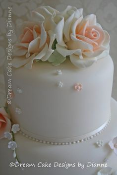 'CATHERINE' ~ stylish 3 tier white wedding cake with peach coloured roses with scattered blossoms 3 Tier Cake, Tiered Cakes, Luxury Wedding, Our Wedding, Small Intimate Wedding, Dream Cake, Centre Pieces, Wedding Gallery, Peach Colors