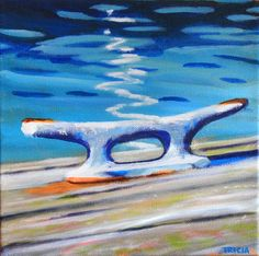 Boat Cleat Acrylic Painting by Maine artist Tricia Granzier