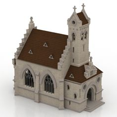 Church lutheran - model for exterior visualization. Minecraft Castle, Minecraft Architecture, Minecraft Creations, Gaming Tips, Church Design, Gothic House, 3d Visualization, Lego Technic, Legos