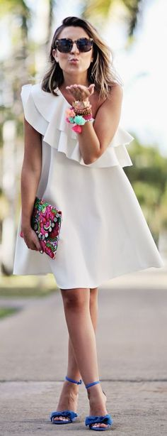 Asymmetrical And Ruffle Inspiration Dress                                                                             Source