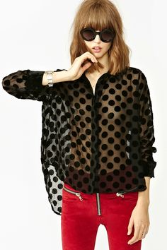 Formerly Known As Blouse by MinkPink - sheer with burnout black velvet polka dots $97.61