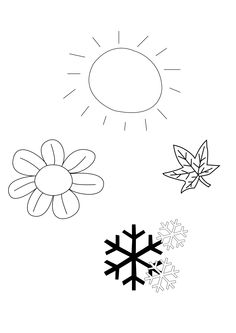 Representing four different seasons in simple illustrations.  Illustration representing four different seasons, done using illustrator  size; 2480 x 3508