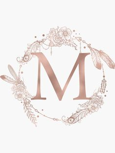 Letter M Rose Gold Pink Initial Monogram iPhone Skin by naturemagick Monogram Stickers, Monogram Letters, Monogram Initials, Floral Letters, Gold Letters, Alphabet Wallpaper, Rose Gold Pink, Heart With Arrow, Pretty Wallpapers