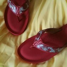 Coach Red Sandals Flip Flops Cute Coach leather sandals with silver stage coach emblem at straps!   Bundle & Save! :) Coach Shoes Sandals