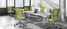Amplify highback task chairs, Momentum Telegram Celery, apple mesh, fog frame, fixed arms