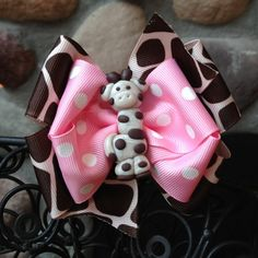 Pink Giraffe Hair Bow by MegansHairCandy on Etsy, $12.00