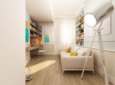Aranżacja gabinetu z designerskimi dodatkami. Wnętrze łączy w sobie klasyczną elegancję i nowoczesność.