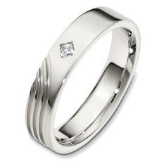 14K White Gold Diamond Wedding Band (0.07ct. tw.) | www.weddingbands.com | @Judy Clark Bands