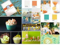 Inspiration Board: Snow White, Clementine Orange, Daisy Yellow, Turquoise Blue : PANTONE WEDDING Styleboard : The Dessy Group