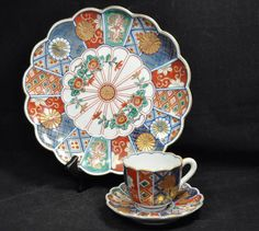 IMARI 16 panel footed plate and matching Demitasse Cup and Saucer