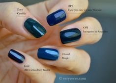 Dark blue nail polish, fall winter 2013 2014 trend. Swatches: #Chanel Magic,  #OPI Incognito in Sausalito,  #Essie After school boy blazer,  OPI I saw you saw we warsaw,  #Zoya Cynthia. by holly
