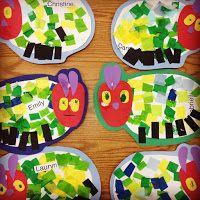 The Very Hungry Caterpillar - Craft to go along with the book. Eric Carle, Kindergarten Art, Preschool Activities, Book Activities, Cameleon Art, The Very Hungry Caterpillar Activities, Art For Kids, Crafts For Kids, Album Jeunesse
