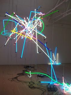 Anselm Reyle neon tube installation at the Saatchi Gallery, London. art light neon colour color