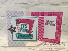 The Craft Spa - Stampin' Up! UK independent demonstrator : Tutorial Double Z Joy Fold card - Pop of Pink Marquee Messages