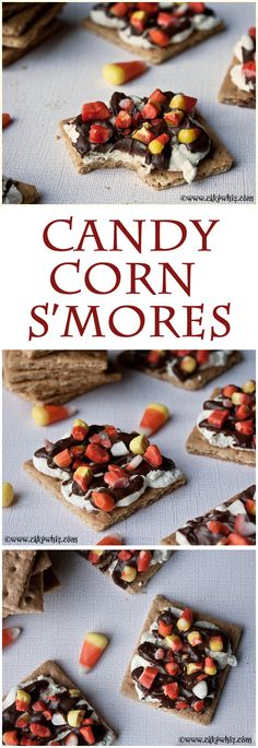 CANDY CORN S'MORES... A great way to use those tasty candy corns this Halloween. From cakewhiz.com