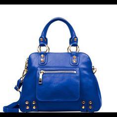 "NEW - Linea Pelle Lady Dylan Large Bag This bag is NEW! Color is Cobalt. Italian leather. Lined interior. Measures 10.5""H, 15""L, 4.75""D with a 7"" handle drop. 45"" detachable shoulder strap. Linea Pelle Bags"