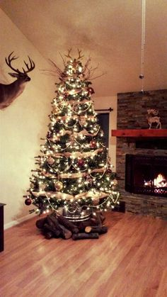 rustic tree with deer tree topper perfect