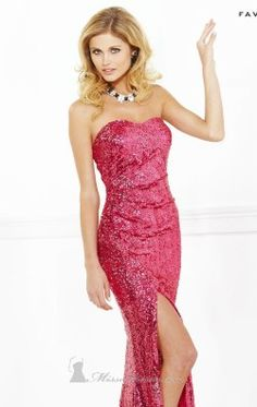 sequined Strapless Long Gown by Faviana 7111