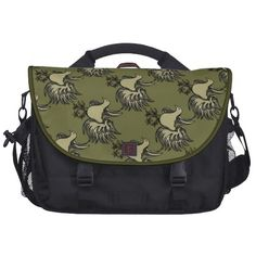 Elegant Stylish Artist Flourish Birds Olive Green Laptop Messenger Bag
