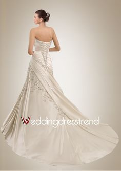 Beautiful Appliqued and Pleated A-Line Chapel Train Wedding Dress