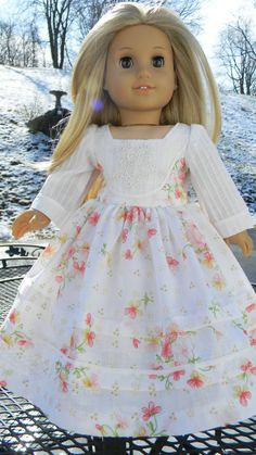 "18 inch Doll Gown White Floral Print Southern Belle Gown for American Girl or other 18"" Dolls"