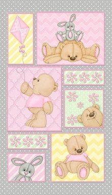 Henry Glass created the Teddy Time Flannel fabric and here is the cute Pink Teddy Bear Panel with Kite.