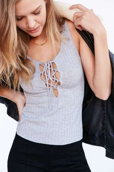 Pin for Later: Trending Outfits to Up Your Summer Fashion Game  Project Social T Lace-Up Ribbed Tank Top ($34)