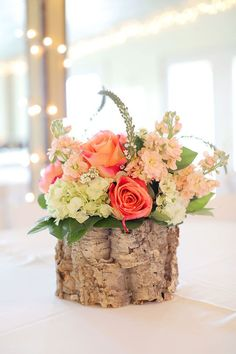 Fresh cut birch wood centerpieces, orange and cream flowers. Birch Centerpieces, Flower Centerpieces, Wedding Centerpieces, Wedding Bouquets, Wedding Decorations, Floral Wedding, Rustic Wedding, Wedding Flowers, Wedding In The Woods