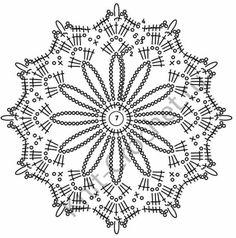 3-3 blusa flores grandes+mallas Crochet Snowflake Pattern, Crochet Mandala Pattern, Crochet Stars, Crochet Snowflakes, Crochet Motifs, Crochet Diagram, Doily Patterns, Crochet Round, Thread Crochet