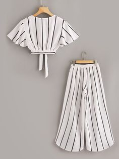 Plus Surplice Front Knot Hem Top With Asymmetrical Hem Pants Dresses Kids Girl, Cute Girl Outfits, Cute Casual Outfits, Pretty Outfits, Stylish Outfits, Indian Fashion Dresses, Girls Fashion Clothes, Teen Fashion Outfits, Mode Outfits