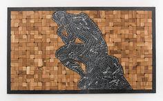 The Thinker - Semi-painted Wood Mosaic by Sureel Kumar - June 2016 at SureelArt. Made with teak pieces, plywood and oil paints. Wood Mosaic, Painted Wood, Painting On Wood, June, Artwork, Work Of Art