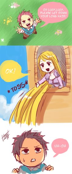 Oh Natsu, silly! Her hair is going to crush you, foolish boy.