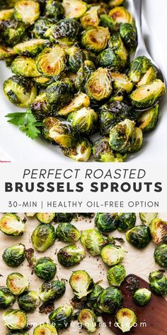 Make the best, crispy Roasted Brussels Sprouts with this super easy, no-fuss recipe that even non-brussels sprouts lovers will devour! Easily customizable and great with casual or elegant dining! #brusselssprouts #veganrecipes #plantbased #wfpb Low Fat Vegan Recipes, Vegan Meals, Raw Food Recipes, Vegan Food, Free Recipes, Healthy Recipes, Eating Vegan, Clean Eating Diet, Vegetarian Food Blogs