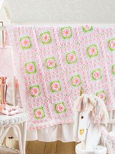 Crochet - Sweetheart Rose Baby Afghan - Item : #EC01189 from E-patterns central. Price $4.29 the pattern
