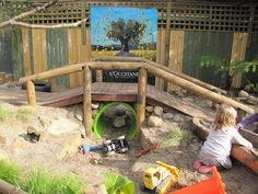 Irresistible Ideas for play based learning. Love the tunnel and recessed sand pit! Could do some cool stuff with this space when the kids out-grow it! Outdoor Learning Spaces, Kids Outdoor Play, Outdoor Play Areas, Kids Play Area, Backyard For Kids, Preschool Playground, Backyard Playground, Playground Ideas, Natural Play Spaces