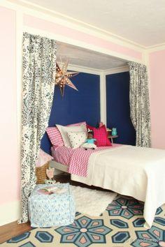 little-girls-bed-nook-remodelaholic Cute Girls Bedrooms, Trendy Bedroom, Teen Bedrooms, Kid Rooms, Bedroom Colors, Room Decor Bedroom, Design Bedroom, Bedroom Ideas, Handmade Home