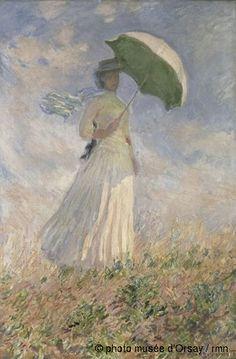 Claude Monet Essai de figure en plein-air : Femme à l'ombrelle tournée vers la droite en 1886, Musee D'Orsay