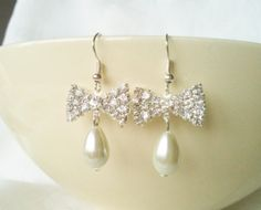 Ivory Drop Pearl & Rhinestone Diamante Bow by InfinityByClaire, £6.00