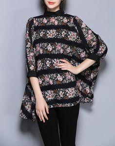 #AdoreWe #VIPme Blouses & Shirts - ZOSOL Black Printed 3/4 Sleeve Batwing Casual Chiffon Blouse - AdoreWe.com