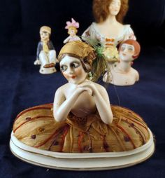 Antique Vintage Porcelain Pincushion Germany Half Doll ART DECO Googly Eyes