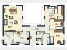 Bildergebnis für bungalow l-form U Shaped House Plans, U Shaped Houses, Residential Architecture, Architecture Design, Casa Patio, Modern Bungalow, Prefabricated Houses, Ground Floor Plan, House Floor Plans
